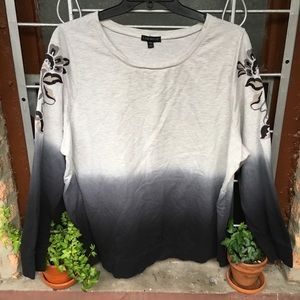 Lane Bryant embroidered ombré long sleeve top 4X